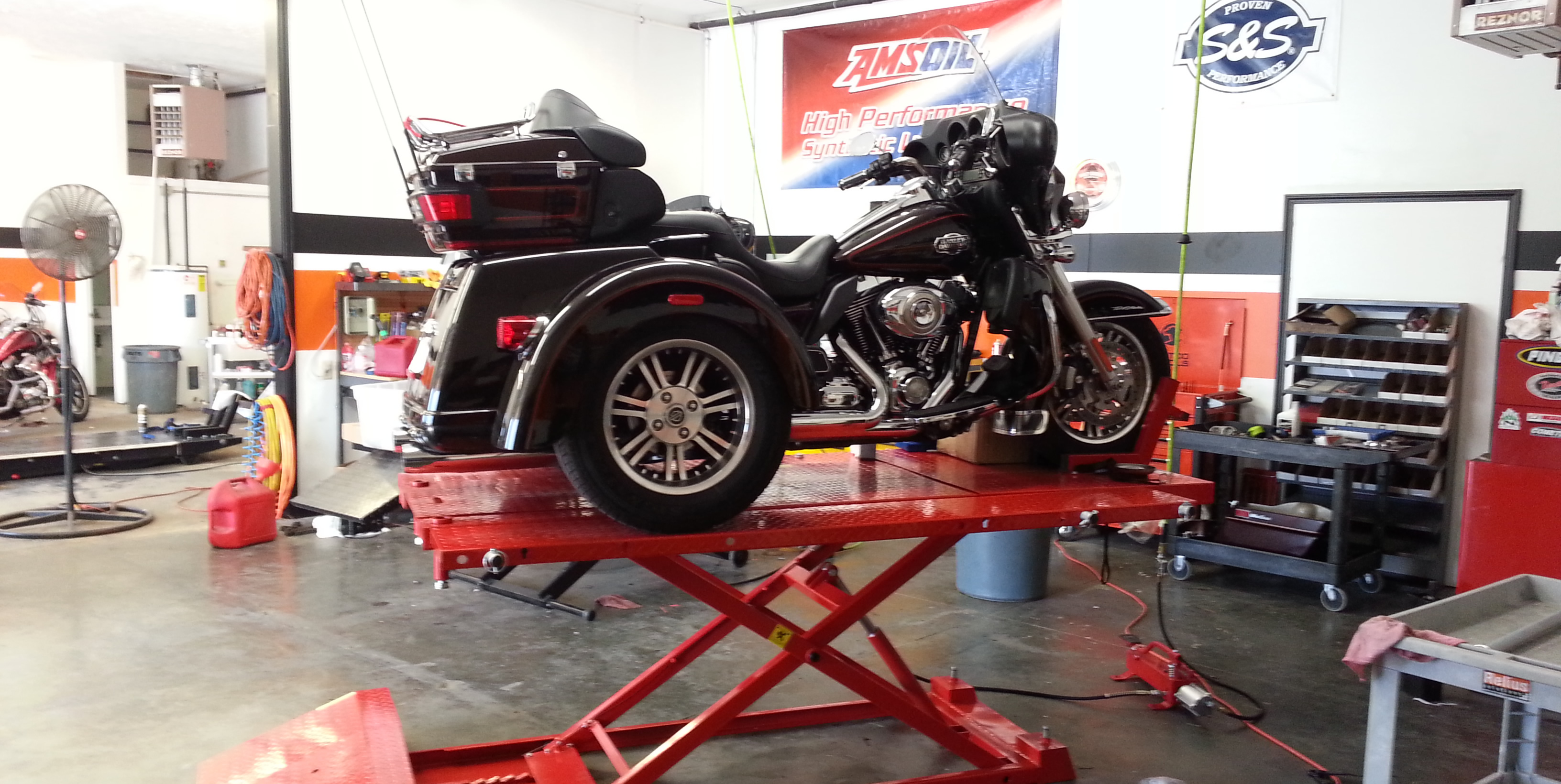 Harley Davidson Trike on the Lift